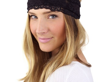 BLACK LACE HEADBAND, wide lace stretch headband