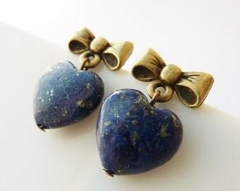 Lapis Earrings, Lapis Lazuli Jewellery,  Blue Stone Earrings, Hypoallergenic, Bow Earrings, Gift for Her, Blue Lapis, UK Earrings