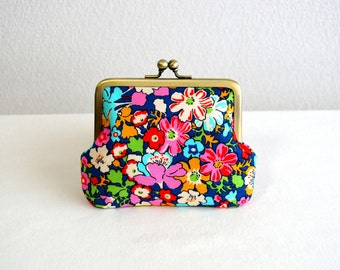 Retro floral coin purse - blue, red, pink, Liberty, frame purse, clasp purse