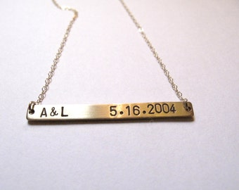 Date Necklace // 14kt Gold Bar Necklace // Anniversary  Necklace // Boyfriend Girlfriend // Memory // Personalized Date //