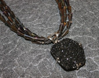 Three Strand Crystal Necklace With Sterling Mounted Agate Druzy Pendant