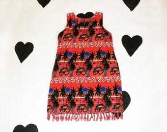 90's Novelty Sunglasses and Palm Trees Print Sun Dress 1990's Red Sunset Sleeveless Fringed Tank Dress/ Tropical / Hawaiian / Surf Resort M