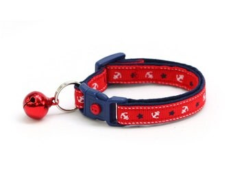 Nautical Cat Collar - White Anchors on Red and Navy Blue - Kitten or Large Size