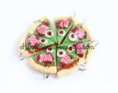 Zombie Pizza Clay Charm, Halloween Holiday Horror Jewelry, Mini Clay Food, Bracelet Charm