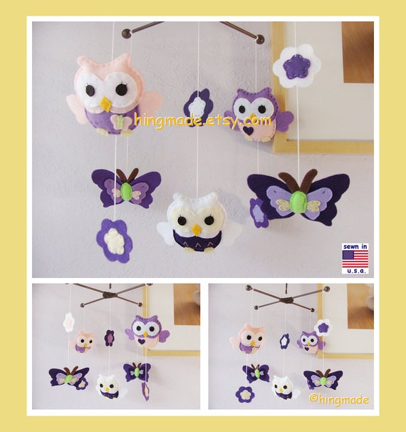 Baby Mobile, Baby Crib Mobile, Owl Mobile, Butterfly Mobile, Purple Nursery Decor, Pink Owl Mobile, Felt Butterfly Mobile