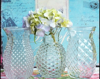 Vintage Clear Glass Wedding Vases / Sparkle and Shine / Vintage Wedding Decor / Bridal Shower