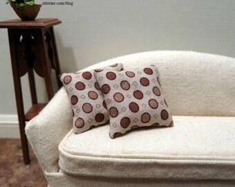 Brown polka dots modern pillows - set of two - dollhouse miniature