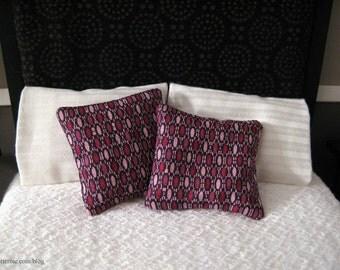 Dollhouse miniature set of 2 purple abstract pillows