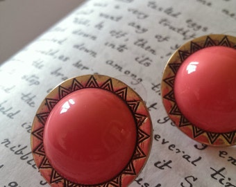 Vintage Coral Color Button Earrings