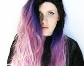 SALE Purple Lace Front Wig. Galaxy Outer Space Alien wig. Dip Dye Gradient Ombre wig. Pastel Purple wig. Black Roots wig // Alien Star