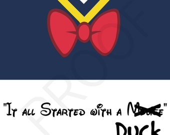 Funny Disney Quote Printable Wall Art, Dark Navy Digital Print, INSTANT DOWNLOAD