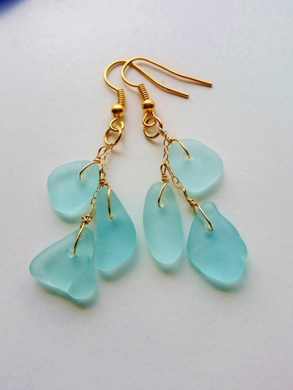 sea glass earrings sea glass jewelry bridal by