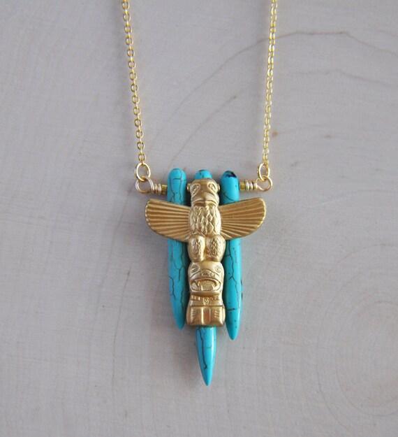 Totem Necklace, Totem Pole Necklace, Spike Necklace, Turquoise Necklace, Howlite Necklace, Gypsy Necklace, Boho Necklace, bohemian necklace