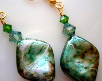 Metallic Green with Swarovski Crystal Accent Earrings on Gold Plated Wires