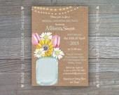 Bridal Shower or Bridal Brunch Invitation - Masor Jar Bouquet - Rustic Wedding - Digital Printable file OR Professionally printed card