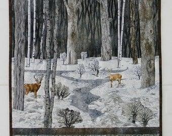 Landscape Quilt: Deer, Ducks, Forest, Trees, Snow, Winter