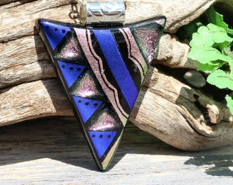 Dichroic Glass Pendant, Fused Glass Jewelry, Necklace; Modern, Geometric, Tribal - Indigo Blue, Silver Pink / 48mm x 36mm (Item #10713-P)