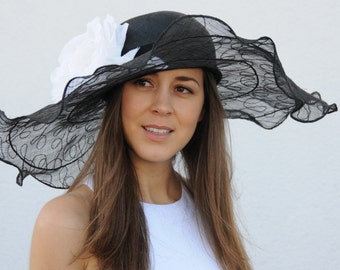 Black Kentucky Derby hat, Royal Ascot hat, couture hat, occasion hat, wedding