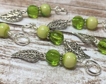 Filigree Leaf Stitch Markers (Optional Holder)- Snag Free Knitting Markers- Gifts for Knitters- Ships4Free