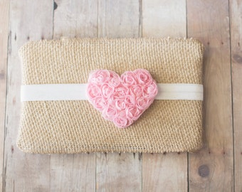 Baby Headband, Heart Headband, Newborn Headband, Girls Headband, Pink Heart Headband, Newborn Photography Prop, Baby Hair Accessories