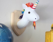 Rainbow Unicorn Stuffed Animal Wall Mounted Head Vegan Taxidermy Nursery Decor