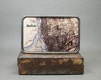 Belt Buckle New York Buffalo Map on Metal Unique Gift for Men Groomsmen or Women