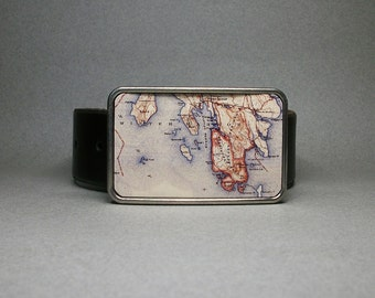 Belt Buckle Acadia National Park Maine Vintage Map Unique Gift for Men or Women