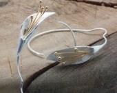 Unusual Silver Flower Earrings, Flower Hoop Earrings, Designer Earrings, Flower Jewelry, Lightweight Trending Earrings Original Gift for Her