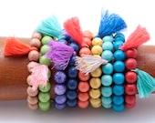 Beaded Stretch Bracelet, Gemstone Stretch Bracelet, Summer Tassel Stretch Bracelet, Colorful Stackable Boho Bracelet, Friendship Bracelet