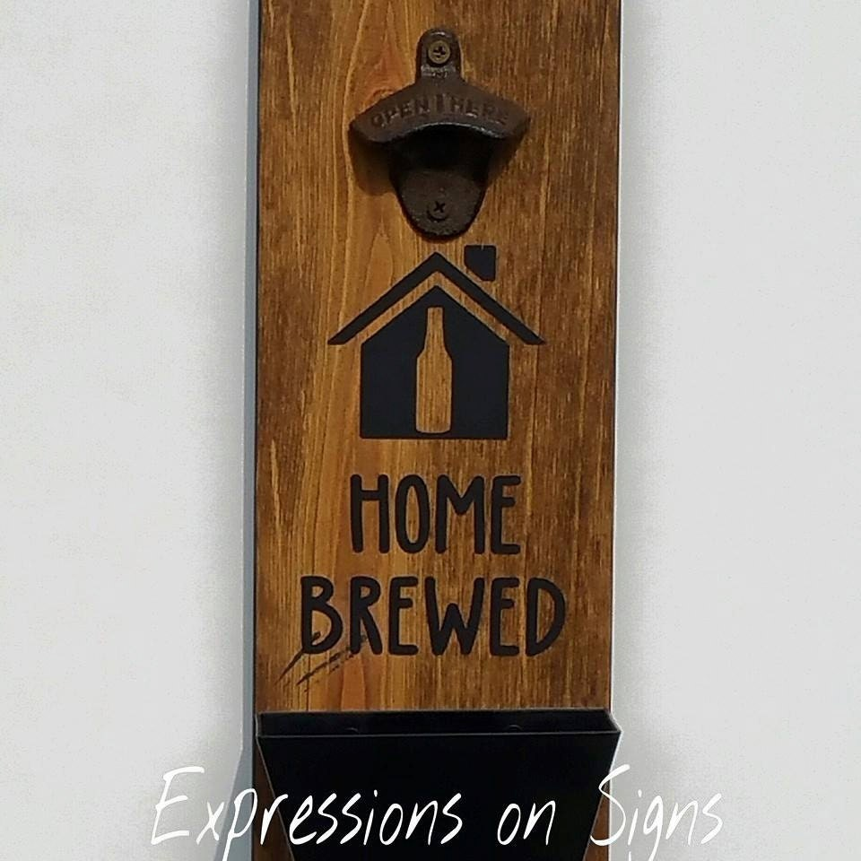 Bottle opener with cap catcher wall mounted wood sign funny - Wall mounted beer bottle opener cap catcher ...