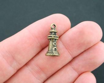 5 Lighthouse Charms Antique Bronze Tone 3D - BC236