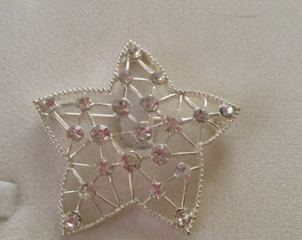 Austrian Crystal Star Shaped Silver Brooch Pin Large Size Vintage