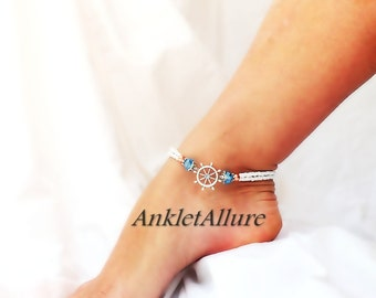 Beyond the Sea Captains Wheel Anklet Cruise Vacation Anklet Sailing Anklet Crystal Ankle Bracelet Double Anklet