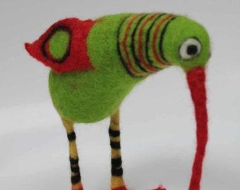 Green Bird with stripy legs