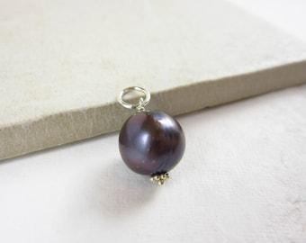 L - Tahitian Pearl Pendant - Black Pearl Charm - Genuine Pearl Jewelry - June Birthstone - Sterling Silver Wire Wrapped Jewelry Handmade