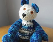 Hand Knitted Teddy for Collectors - Knitted Bear - Blue Knitted Bear