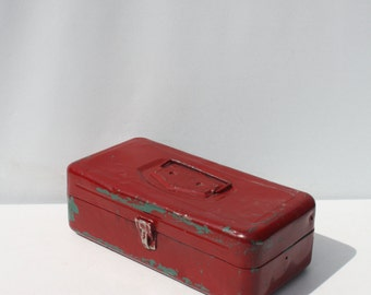 Vintage Red Green Metal Box Industrial Storage Fishing Tackle Box Tool Box Victor