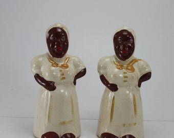 Vintage Black Americana Salt & Pepper Shakers Ceramic Mammy Aunt Jemima Large Size