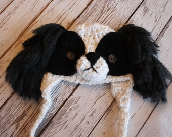Baby Chin Dog Hat - Japanese Chin Dog Hat -  Newborn Chin Dog Breed Costume Hat - Cute and Soft Ear flap Costume Hat - by JoJosBootique