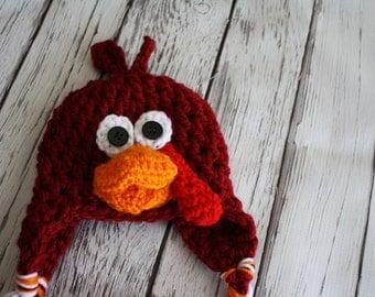 Red Baby Turkey Bird Hat - Baby Hat - Turkey Hat - Baby Turkey Hat - Thanksgiving Turkey hat -by JoJosBootique