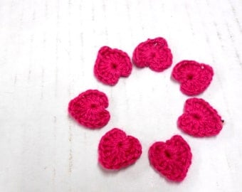 Hot Pink Hearts, Tiny Crocheted Heart Motifs, Wedding Decor, Romantic Embellishments