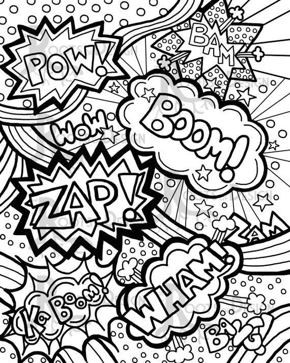 INSTANT DOWNLOAD Coloring Page Comic Book Words/ by ...