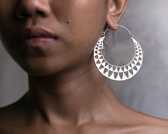 Triangle Earrings - Triangle Jewelry - Geometric Jewelry - Triangle Hoop Earrings