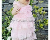 CLEARANCE.....Pink  Rustic Lace Chiffon Dress With Matching Headband.......Flower Girl Dress, Wedding Dress, Baptism Dress