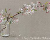 "Branch of white and pink Spring apple blossom flowers in jar with a grey background - ACEO Art Reproduction (Print) - ""Apple Blossoms"""
