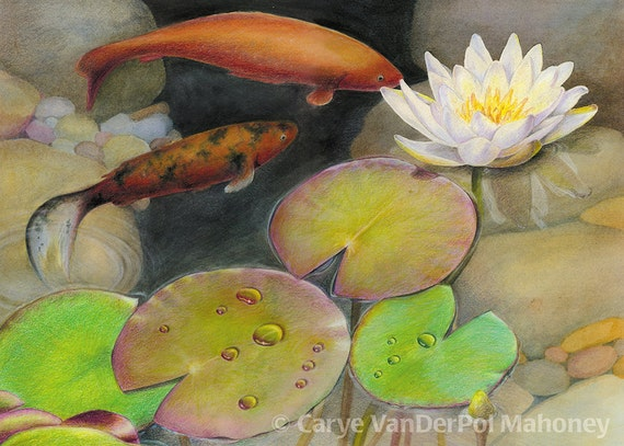 Pond with orange koi fish and green lily pads with white for Green koi fish