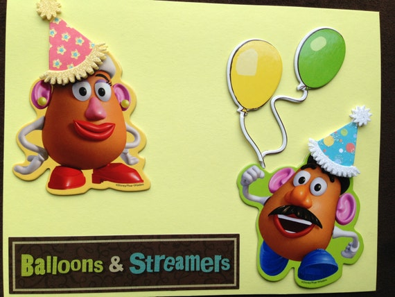 Items similar to Potato Head Balloons Streamers Handmade – Mr Potato Head Birthday Card