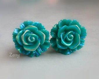 Mermaid Flower Plugs, Shimmery Teal, for Gauged Ears Sizes 3/4 Inch, 5/8 Inch, 9/16 Inch, 1/2 Inch, 00g, 0G, 2G, 4G , 6G