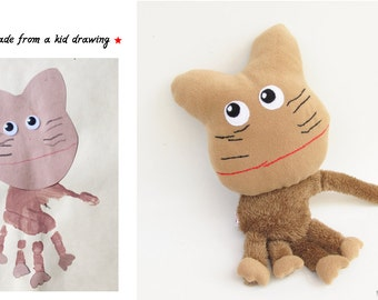 Cat doll made from a child's drawing Custom kids drawing Personalized soft toy - MADE TO ORDER