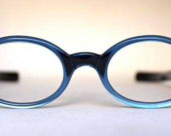Vintage 60's NOS Harlequin USA Blue Eyeglass Frames Opal with Silver Sunflower Rivets - FREE Domestic Shipping